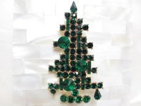 エメラルドグリーンクリスマスツリーブローチ(ヴィンテージ)