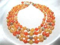 濃淡オレンジ4連ネックレスWGERMANY(ヴィンテージ)