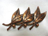 銅製葉っぱのブローチ(ヴィンテージ)