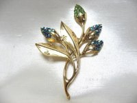 WEISSブルー&ペリドットストーン植物ブローチ(ヴィンテージ)