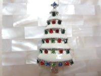 マルチカラーストーンクリスマスツリーブローチ(ヴィンテージ)