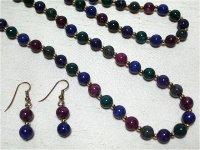 天然石風5色のグラスネックレス&ピアス(ヴィンテージ)