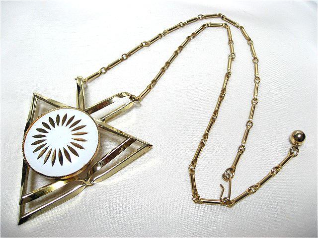 画像1: 白いエナメルのアートネックレス(ヴィンテージ)