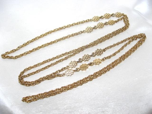画像1: ゴールドメタルロングネックレス(ヴィンテージ)