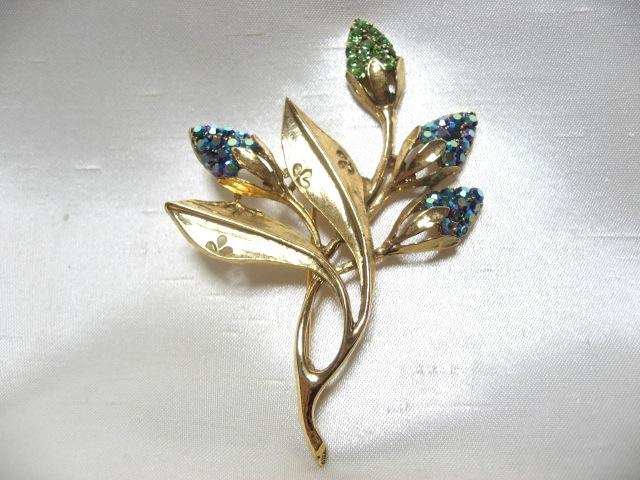 画像1: WEISSブルー&ペリドットストーン植物ブローチ(ヴィンテージ)