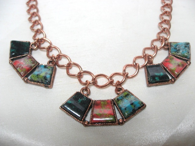 画像1: 銅色マーブルストーンエキゾチックネックレス(ヴィンテージ)