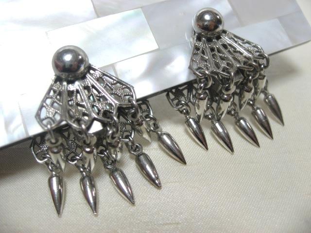 画像1: 透かし彫りシルバーメタルイヤリング(ヴィンテージ)