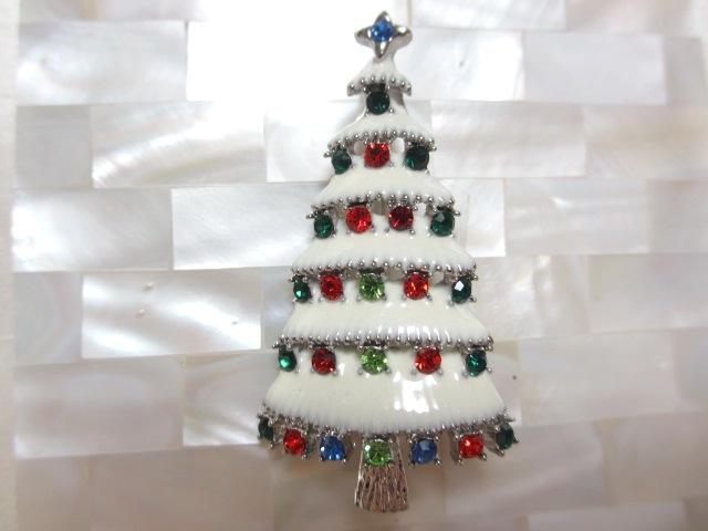 画像1: マルチカラーストーンクリスマスツリーブローチ(ヴィンテージ)