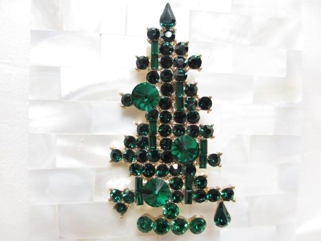 画像1: エメラルドグリーンクリスマスツリーブローチ(ヴィンテージ)