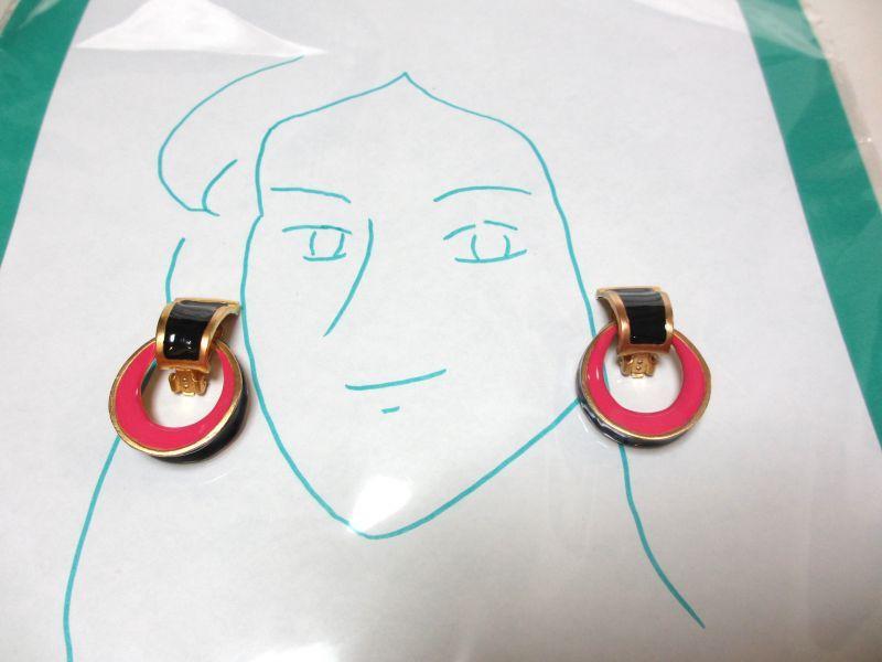 画像1: ピンク&ブラックドアノッカーイヤリング(ヴィンテージ)