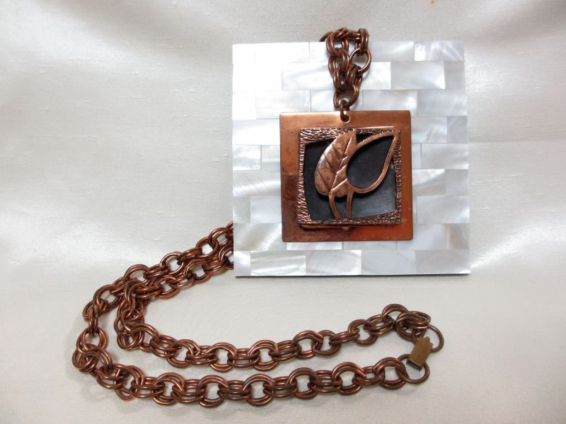 画像1: 銅板リーフネックレス(ヴィンテージ)