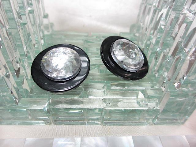 画像1: ブラック&クリアプラスティックイヤリング(ヴィンテージ)