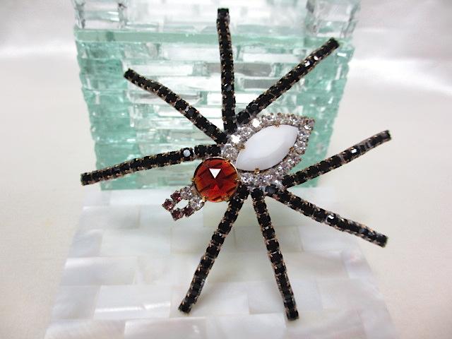 画像1: チェコラインストーン蜘蛛ブローチ(ヴィンテージ)