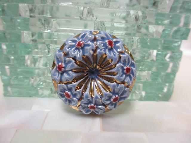 画像1: 陶製フラワーブローチ(ヴィンテージ)
