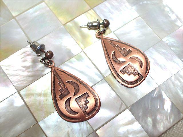 画像1: 銅製月モチーフしずく型ピアス(ヴィンテージ)