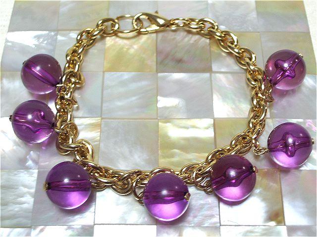 画像1: 赤紫パーツのブレスレット(ヴィンテージ)