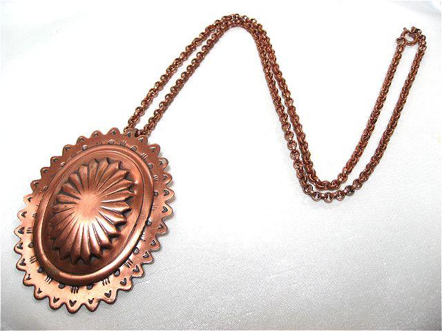 画像1: 銅エンボスフラワーモチーフネックレス(ヴィンテージ)