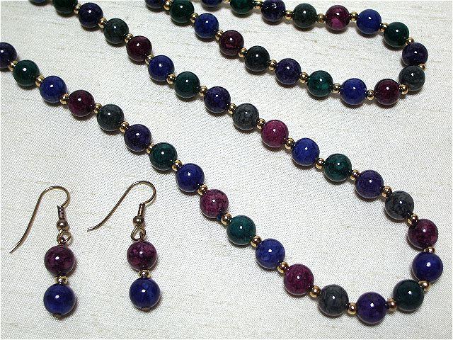 画像1: 天然石風5色のグラスネックレス&ピアス(ヴィンテージ)